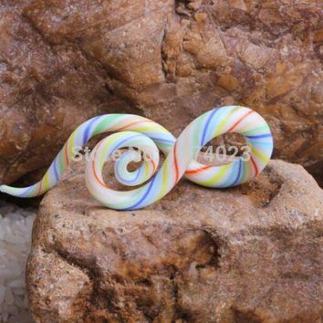 ac ICIKO2Q twist pair teal ear piercing gauge Acrylic Spiral Taper Flesh Tunnel Ear Stretcher Expander