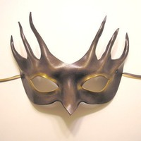 Leather Mask with Tendrils in Grey and Gold by teonova on Etsy