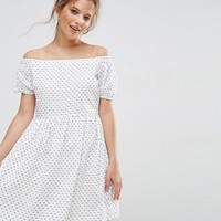 ASOS Off Shoulder Smock Dress in Dobby Spot at asos.com