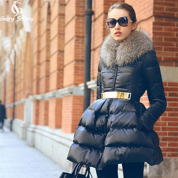 Winter Coat 2017 New Luxury Fur Collar DOWN JACKET Girls Long Jacket Parka Black Size S-XXL Big skirt hem Down coat
