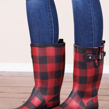 Buffalo Plaid Rain Boots