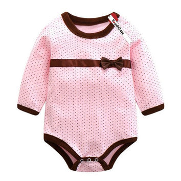 Baby Girls Polka Dot Romper with Bow
