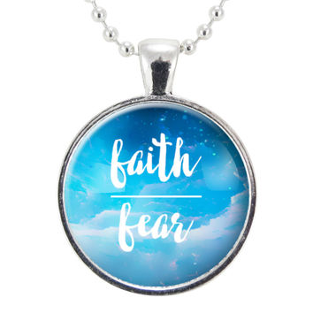 Faith Over Fear Necklace, Religious Jewelry, Gift For Her, Motivational Quote Mantra Pendant