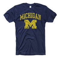 The M Den - University of Michigan T-Shirt w/ Distressed Michigan-M at the MDen