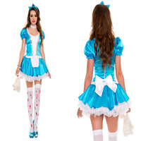 Halloween Women Blue Color Maid Outfit French maid costume