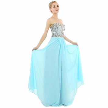 Chiffon A Line Long Prom Dresses Beaded Sequins Formal Evening Dresses Gowns