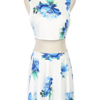 White Floral Print Sleeveless Crop Top And Bottom