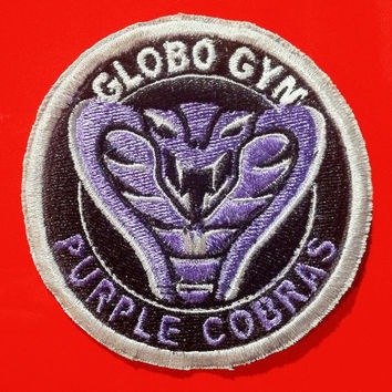 Embroidered Patch Inspired by Globo Gym Purple Cobras from Dodgeball