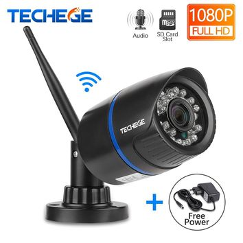Techege 1080P WIFI IP Camera Audio Record Outdoor Waterproof P2P Night Vision 2.0MP Wireless Wired Motion Detection APP Remote