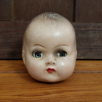 Vintage Plaything Composition Doll Head With Sleep Eyes Great Creepy Decor