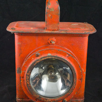 Antique Railroad Lantern Light - Orange Metal Casing - Chipped Paint