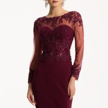Illusion Dress with Beaded Long Sleeves
