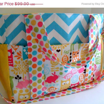 SALE  Diaper Bag Made of Forest Life Watermelon and Chevron Fabric / 10 Pockets / Extra Large