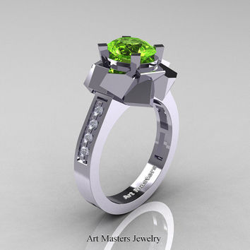 New Modern 14K White Gold 1.0 Ct Oval Peridot Accent White Diamond Engagement Ring AR136-14KWGDPE