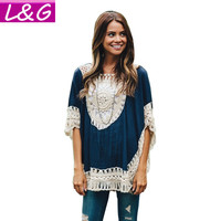 Summer Style Oversized Lace Crochet Knitted Blouses Women Boho Tunic Top Plus Size