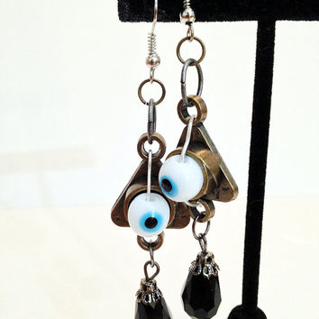 Triangular Eye Earrings, Creepy Jewelry, Spooky Style, Black Gem, Bronze Color, Sterling Silver, Halloween Accessory, Costume Bling