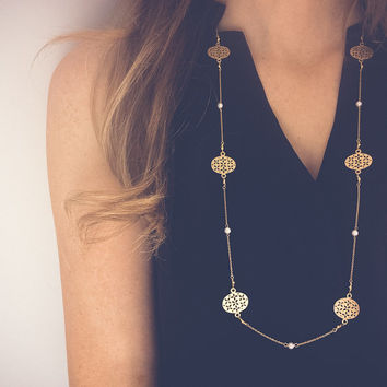 Long gold necklace with filigree links and Swarovski pearls:  Matte gold necklace, Layering necklace, Dainty chain