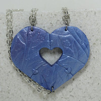 Puzzle Heart Necklaces set of 3 Friendship  Heart Puzzle Necklace Polymer clay Set 13