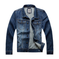 Retro Men's Vintage Cool Denim Jacket Slim Fit Outwear