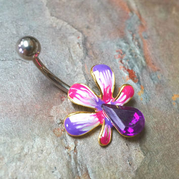 Purple Hibiscus Flower Belly Button Ring
