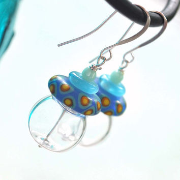 Clear Aqua Blue Lampwork Glass Earrings - Light Weight Hollow Blown Earrings