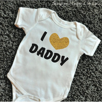 Father's Day Shirt I Love My Daddy Shirt Girl Clothes Baby Clothing Glitter Heart Shirt for Father's Day New Dad Shirt READY TO SHIP 056