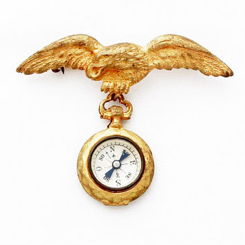 Rare French Eagle Compass Brooch Chimera Griffin