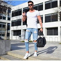 Washed hiphop jeans men pants 2018 skinny blue Jean Trousers for Man Boys New arrival