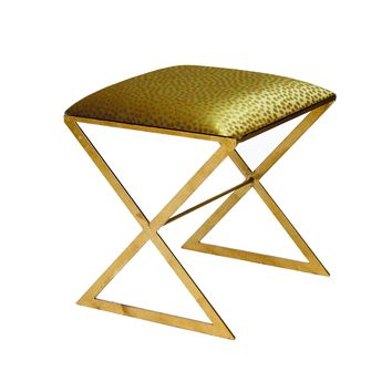 "Worlds Away ""X""  Metal Side Stool with Upholstered Cushion"