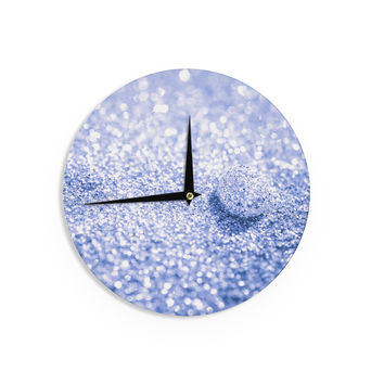 "Debbra Obertanec ""Sparkle Glitter"" Purple Bokeh Wall Clock"