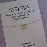 30th Birthday Sisters jewelry . 2 SISTERS necklace .Two sisters jewelry. Delicate Gold necklace. Inspirational Gift.  Bridal Party