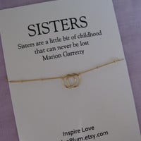 S I S T E R S Necklace. 2 Sisters Gift. GOLD Eternity Circle Necklace. 20th Birthday Sisters Gift. SISTERS 30th Birthday. SISTER Necklace