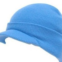 Blank Cuff Beanie Visor (Comes In Many Different Colors)- Sky Blue
