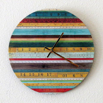Unique Wall Clock, Home Decor, Decor and Housewares, Home and Living, Cottage Chic Decor, Ruler Wall Clock