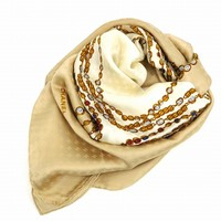 Authentic CHANEL Coco Mark Scarf White&Beige #X6536