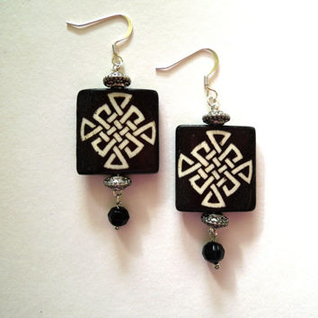 Celtic Bone Earrings Dangle 2 1/2 inches