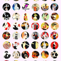 "1920s 1930s art flapper girls fashion digital download collage 1"" circles for jewelry charms, pendants, pins, buttons, magnets etc..."