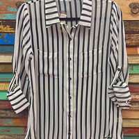 Pin Stripe Sheer Button Down Blouse Black & White *FINAL SALE*