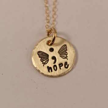 Hope - Hand Stamped Semi Colon Butterfly Necklace - Brass with Gold Filled Chain - Project Semicolon