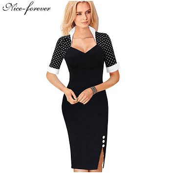 Nice-forever Polka Dots Elegant Women Patchwork Buttons Square Neck Sheath Dress business Wear to Work Split Pencil dresses b47