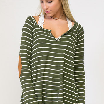 Stunning Striped Patch Top