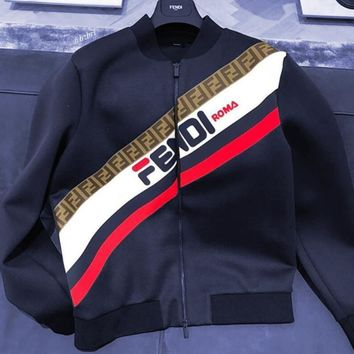 FENDI 2019 early spring new men's printed flight jacket jacket sweatshirt