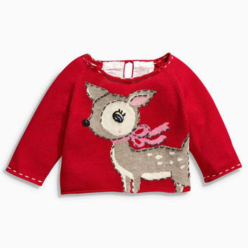 Christmas sweaters new winter children sweaters deer striped knitwear baby boys girls sweater pullovers warm kids clothes