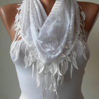White Scarf with Trim Edge White Leopard Fabric by SwedishShop
