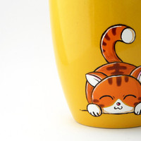 Cat coffee mug available in yellow and lime