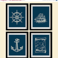 ON SALE Sketched Nautical Decor Art Prints - Prussian blue, Marine - Set of 4 - 8X10 - Steering Wheel, Anchor, Map, Ship - No. 016-0-S4