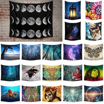 150x130cm Fashion Home Living Wall Decor Space Moon Starry Sky Tree Printing Hanging Tapestries