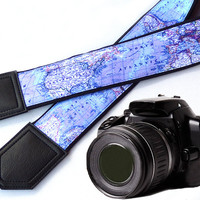 DSLR / SLR Camera Strap. World Map Camera Strap. Camera accessories. United States map. Strap for Canon, Nikon, Fuji & other cameras.