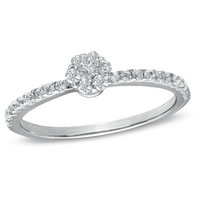 1/4 CT. T.W. Diamond Cluster Frame Promise Ring in 10K White Gold - View All Rings - Zales