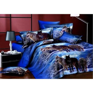 NEW WOLF QUILT COVER 3D Queen Size Duvet Quilt Cover Bedding Set (Size: Queen, Color: Blue)wolf Bedding